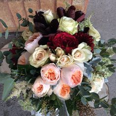 """Wonderful late fall wedding colours. Garden roses """"Juliet"""" and """"Tess"""" make a statement!"""