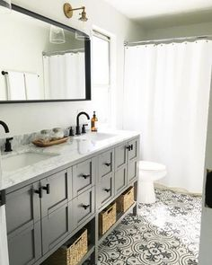 Bathroom Remodel Discover Merola Tile Twenties Vintage Encaustic in. Ceramic Floor and Wall Tile sq. / - The Home Depot Bathroom Renos, Grey Bathrooms, Bathroom Renovations, Small Bathroom, Master Bathroom, Grey Bathroom Cabinets, Dyi Bathroom, Bathroom Hardware, Dark Floor Bathroom