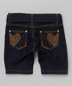 Another great find on #zulily! Dark Blue Heart Denim Bermuda Shorts & Belt - Girls #zulilyfinds