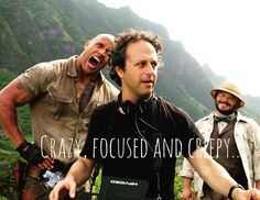 Director Jake Kasdan (center) has to remain focused on his big vision for #Jumanji, while the bald one can be crazy and the curvy @JackBlack can be creepy. Luv this group! Havin' a blast and makin' a good one! #OnLocation #Hawaii #Jumanji #CrazyFocusedAndCreepy