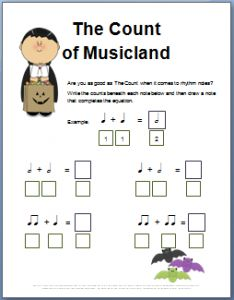 fun halloween worksheet where kids practice writing the counts beneath rhythm notes