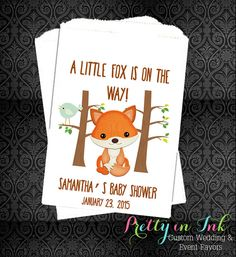 10 OFF BS19  Fox Baby Shower Woodland Favors by PrettyInInkCo