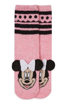 Vrolijke felroze sokken Minnie Mouse