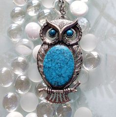Vintage Owl Necklace Silvertone and Turquoise by TheOwlLady, $32.00