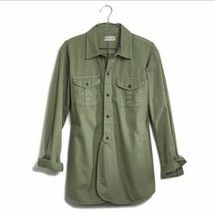 madewell// cargo workshirt Our signature workshirt gets a low-key makeover. Soft and lovingly worn in, this one has overlapping shirttails in front for that easy undone look we love. ?  True to size. Cotton. Machine wash. Madewell Tops Button Down Shirts