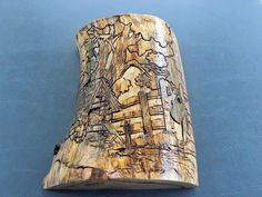 Artesian Well - Pyrography & Etched on Pine - Wall Decor w/ Secret Compartments - Item 255. $320.00, via Etsy.