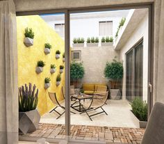 Proyecto Realizado por OH Visualizacion Courtyard Design, Backyard Garden Design, Balcony Design, Backyard Patio, Small Patio Design, Design Exterior, Interior And Exterior, Outdoor Spaces, Outdoor Living