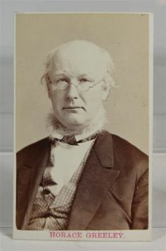 1860's Horace Greeley CDV Photograph Newspaper Editor Abolitionist Politician | eBay