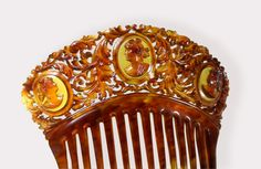 Victorian comb with carved tortoiseshell cameos