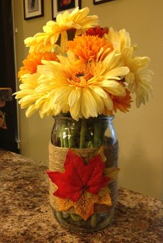 Fall arrangement, twine-wrapped mason jar, fall leaves (photo only)