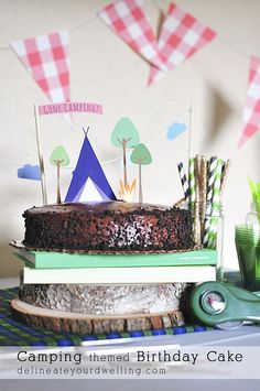 Camping themed Birthday Cake, A store bought cake made festive with paper CAMP cut outs!  A quick and easy DIY cake.  Delineateyourdwelling.com