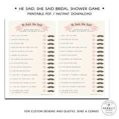 He Said She Said  Printable Bridal Shower Game by MERRILYDESIGNS