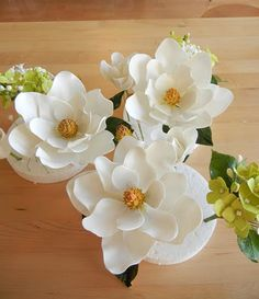 Magnolia Sugar Flowers from Petalsweet Blog.