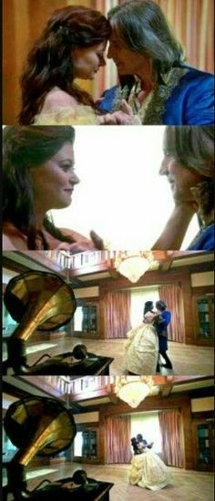 Just watched Season 4 Episode 1 and this scene had me bawling like a baby :'D Belle's dress, Rumple's coat, Beauty and the Beast playing in the background! It was so beautiful <3 #rumbelleforever