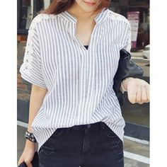 Refreshing V-Neck Short Sleeve Lace Splicing Striped Women's Blouse