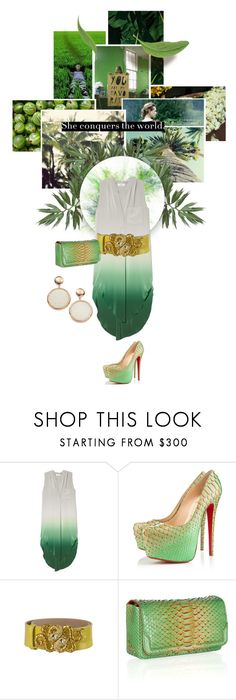 """1575.She conquers the world."" by sylviedupuywriter ❤ liked on Polyvore featuring Anthropologie, OTTE, Christian Louboutin, Roberto Cavalli and Adami & Martucci"