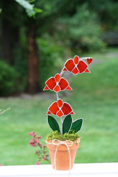 LARGE Red Orchid Stained Glass Suncatcher Decorative Potted Plant, 3d,  Garden Decor, Decorative Art, Home Decor