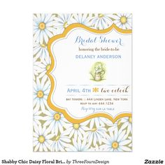 Shabby Chic Daisy Floral Bridal Shower Invitation