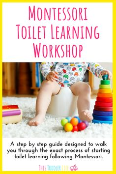 Montessori Toilet Learning Workshop is a step by step guide designed to walk you Montessori Toddler, Montessori Activities, Toddler Preschool, Activities For Kids, Montessori Homeschool, Toddler Potty, Toddler Classroom, Toddler Fun, Parenting Toddlers