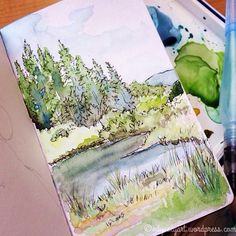 Today's #worldwatercolormonth painting.  Finished up the plein air sketch I…