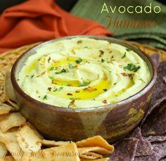 All the delicious flavors of guacamole in a smooth and creamy Avocado Hummus! | Avocado Hummus - Family Table Treasures