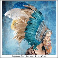 Mother Earth....  Feather Headdress with Metal by BubblesAndFrown, $456.66