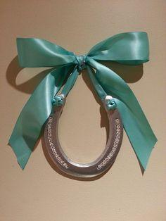 Horseshoe Art, silver horseshoe w Rhinestone Bling adorned w Turquoise ribbon, hanging horseshoe, wedding horseshoe,Lucky Pony Shop,