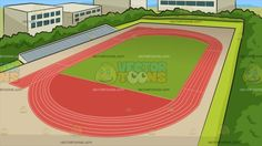 Track And Field Background :  A top view of an Olympic sized track with red turf green grass bleachers surrounded by lush green trees and bushes as well as buildings