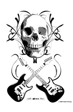 93 best guitars images cool guitar music musical instruments Multi- Neck Guitar skull and guitar crossbones print is a grayscale illustration the