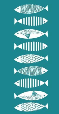 Illustration Fish www. Fish Patterns, Fish Print, Fish Design, Art Plastique, Printmaking, Screen Printing, Art Projects, Illustration Art, Graphic Design