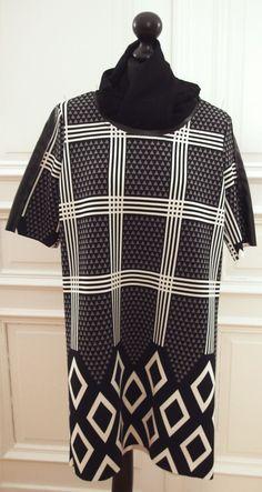 MINI-KLEID-SCHWARZ/WEISS-KUNSTLEDER-EINFASSUNGEN-Grafische Muster-Kurzarm-Gr.36 in Kleidung & Accessoires, Damenmode, Kleider   eBay