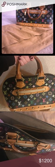 """AUTHENTIC Louis Vuitton Black Monogram Alma Purse Authentic black multicolor Louis Vuitton """"Alma"""" bag. 100% authentic. I was there when it was purchased. My sister has the Speedy in white purchased at the same time (to help prove I was there and that it is indeed authentic - I know my stuff, I promise!)  Please respect the craftsmanship of this fine bag by not sending super lowball offers. This is an exceptional Louis Vuitton bag looking for a loving home. Louis Vuitton Bags"""