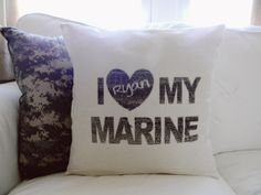 Personalized I Love My Marine 16 x 16 Pillow by ParrisChicBoutique, $20.00
