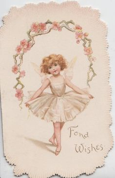 "FOND WISHES girl in white dress with ""wings"" stands in dancing posture"