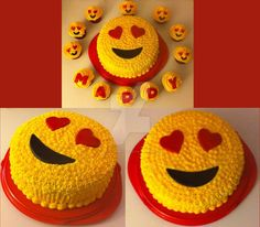 Birthday theme cake (with some cupcakes) for one of my cousins who mainly into the emoji-theme. The one with the hearts in the eyes is her most favorite. Emoji In Love Cake Cupcake Emoji, Emoji Cake, Cupcake Cakes, Cake Cookies, Cool Birthday Cakes, Birthday Cupcakes, Birthday Boys, Homemade Buttercream Icing, Fete Emma