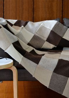 100% recycled wool patchwork blanket