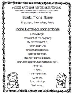 Writing Super Pack - See a page all about adding Transitions to your writing! $