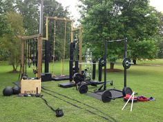 Rope, sled, rig, bars and plates