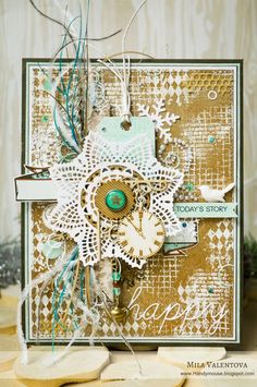 12 Days of Christmas Winner-Mila! Day 4 - using Crackle Pastes! Altered Canvas, Altered Art, Scrapbook Albums, Scrapbook Cards, Scrapbooking, 12 Days Of Christmas, Christmas Holidays, Happy Holidays, Christmas Canvas Art