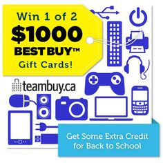 Too Cool for School, TeamBuy.ca is giving away TWO $1000 Best Buy gift cards. Cheap Gift Cards, Buy Gift Cards, Free Gift Cards, Too Cool For School, Back To School, All Things Cute, Cool Things To Buy, Paper Crafts, Crafty
