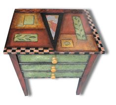 Ginger Snap by Wendy Grossman. This versatile table can be used as a side, game table, or end table. It boasts two drawers, one deeper on the bottom. It is hand painted with acrylic and accented with embossed copper, gold, copper, and sliver leaf. Top has 10 coats of water based polyurethane.