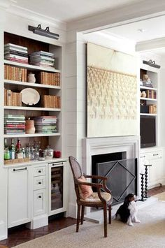 Nice simple built in bar for bookshelf.  Image via @Jess Liu Rowe {The Aestate}