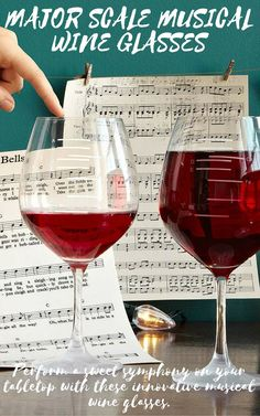 39c936d5f4fb Major Scale Musical Wine Glasses - Set of 2 | Etched Red Wine Glasses, Music,  tune