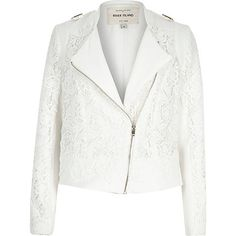 White lace fitted biker jacket €95.00