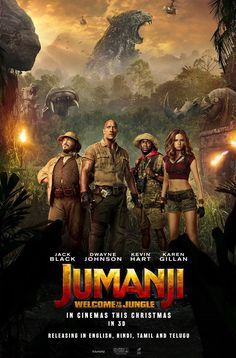 Jack Black, Kevin Hart, Dwayne Johnson, and Karen Gillan in Jumanji: Welcome to the Jungle Free Movie Downloads, Full Movies Download, Jack Black, 2018 Movies, Movies Online, Movies 2017 List, Jumanji Movie, Jumanji 1995, Movie Posters