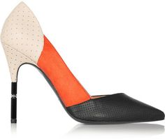 Roland Mouret Romy suede and perforated leather pumps