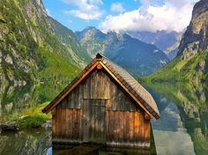 The little boat-house at Lake Obersee near Lake Königssee by echumachenco on Flickr.