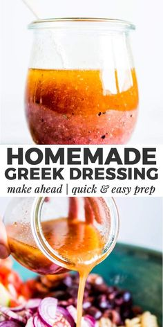 Salad Dressing - Greek Salad Dressing is an easy homemade dressing you can whip up in minutes. Free from processed i -Greek Salad Dressing - Greek Salad Dressing is an easy homemade dressing you can whip up in minutes. Best Greek Salad, Greek Salad Pasta, Greek Salad Recipes, Salad Dressing Recipes, Greek Salad Dressings, Authentic Greek Salad Dressing, Best Salad Dressing, Mediterranean Salad Dressing, Mediterranean Recipes