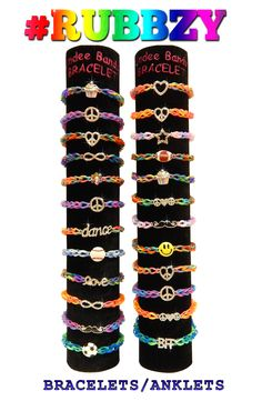 Tie dye #Rubbzy rubber band bracelets with cool charms!