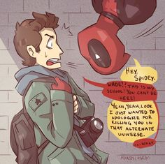 Deadpool apologizing for almost killing Peter in alternate universe